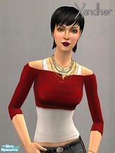 Sims 2 — Weekender Part 2 - Cut off shirt - Red by Xandher — A cut-off top over a simple tank, this shirt is perfect for