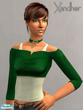 Sims 2 — Weekender Part 2 - Cut off shirt - Hunter Green by Xandher — A cut-off top over a simple tank, this shirt is