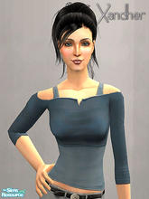Sims 2 — Weekender Part 2 - Cut off shirt - Indigo Blue by Xandher — A cut-off top over a simple tank, this shirt is