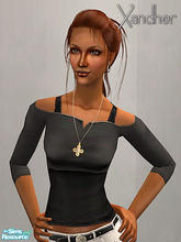 Sims 2 — Weekender Part 2 - Cut off shirt - Black by Xandher — A cut-off top over a simple tank, this shirt is perfect