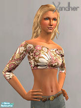 Sims 2 — Weekender Part 2 - Cut off shirt - Pink Paisely by Xandher — This retro style cut-off top looks great with