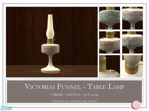 Sims 2 — Victorias Funnel Table Lamp by DOT — Victorias Funnel Table Lamp. 1 MESH Plus Recolors. Sims 2 by DOT of The