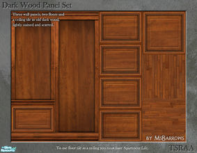 Sims 2 — Dark Wood Panel Set by MsBarrows — A set of three panels, two floors, and a floor meant to be used as a ceiling