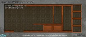 Sims 2 — Dowling Wallpaper Set 2 (Dark Wood) by MsBarrows — A formal pattern in deep gold on a dark blue background, with