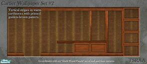 Sims 2 — Cartier Wallpaper Set 2 (Dark Wood) by MsBarrows — Vertical stripes in warm earthtones with printed golden-brown