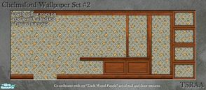 Sims 2 — Chelmsford Wallpaper Set 2 (Dark Wood) by MsBarrows — Lovely yellow roses on a trellis with a backing of muted