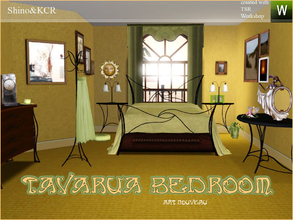 Sims 3 — Tavaruabedroom by ShinoKCR — Art Nouveau for the Sims Set contains Bed, Bedcover, Sidetable, Consoletable,
