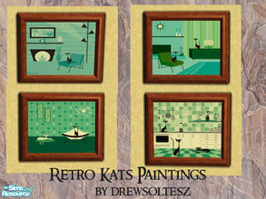 Sims 2 — Retro Kats Paintings by drewsoltesz — A set of four Retro Paintings featuring cats!! Ideal for that living/study