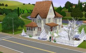 Sims 3 — Little cottage in the snow by francien — In Christmas outfit..thought it would be nice to have this cottage in
