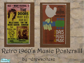 Sims 2 — Retro 1960\'s Music Posters III by drewsoltesz — Two more concert posters from the 1960\'s, music/concert