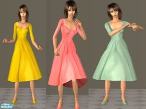 Sims 2 — 50s Chiffon Party Dresses  by theangeliquemonte — Another super sweet and pretty vintage 50\'s party dresses. A