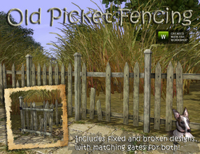 Sims 3 — Picket Fences by Cyclonesue — Whether you like new or old, there is a picket fence for you. This set includes a