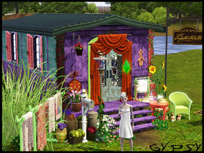 Sims 3 — Gypsy *Starter* by IceCreamQueen — This gorgeous gypsy caravan is lush, it is very small, has a fridge, oven,