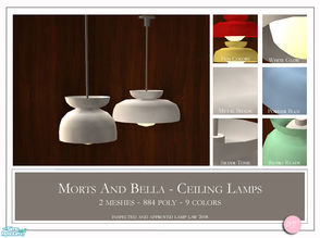 Sims 2 — Morts And Bella Ceiling Lamps by DOT — Morts And Bella Ceiling Lamps. 2 MESHES Plus Recolors. Sims 2 by DOT of