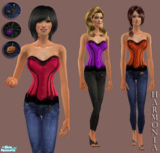 Sims 2 — Halloween Party Set 03 by Harmonia — 3 Color Variations Lace Detail Bustier ~ Jeans Lace Shoes