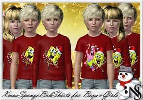Sims 3 — Nea-XmasSpongeBob by Nea-005 — Xmas Shirts with long and short sleaves for boys and girls
