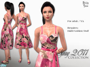 Sims 2 — Spring Collection 2011: Satin & Roses by BunnyTSR — An unashamedly feminine Spring dress with a vintage feel