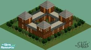 Sims 1 — Wooden Castle by Alimatt — This elegant and yet warm mansion includes master bedroom, 2 large bathrooms and