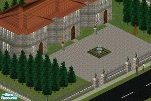 Sims 1 — The Court by Alimatt — This sophisticated house is completely made of stone. It contains an entrance/living,