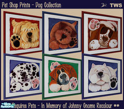 Sims 2 — Pet Shop Prints - Dog Collection by wildstar24 — Six dog prints in fun and colourful styles. Bright backgrounds