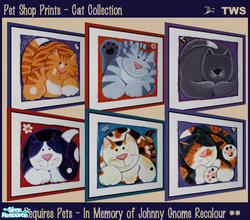 Sims 2 — Pet Shop Prints - Cats Collection by wildstar24 — Six cat prints in fun and colourful styles. Bright