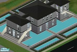 Sims 1 — Black and White House by Alimatt — Enjoy this extra-modern house built in the middle of a fabulous swimming