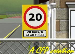 Sims 3 — Sign Fence 20Kms/h In Military Base by carlosfilipepedro — A speed sign of 20 kms/h for the Military base and