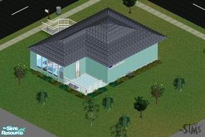 Sims 1 — The Blue House by 2DXFan2 — This is my first house. Although it doesn\'t have a computer or a bookcase, I tried