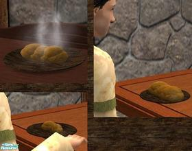 Sims 2 — Medieval Meal - Bread by TheNinthWave — Available for all 3 meals and has all the morph states included. Also