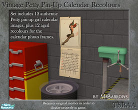 Sims 2 — Vintage Calendar Recolours by MsBarrows — A set of 12 photo frame images based on a 1947 Petty pin-up girl