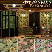 Sims 3 — Art Nouveau Pattern Set by TheBombson — These floral patterns are made to bring a dash of elegance era in your