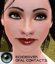 Sims 3 — Echoehver Opal Contact by Echoehver —  Hand Painted Blue-Green eyes with flecks of gold.