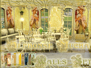 Sims 3 — Alphonse Mucha Walls by murfeel — Art Nouveau is one of my alltime favorite design themes, and my favorite Art