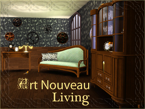 Sims 3 — Art Nouveau Living by ShinoKCR — Small Set of Art Nouveau Living Objects. Cabinet is inspired by Henry van de