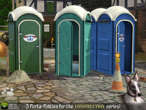 Sims 3 — Porta-Potty portable toilets by Cyclonesue — PLEASE READ: This set of 3 meshes includes a 2-tile fully