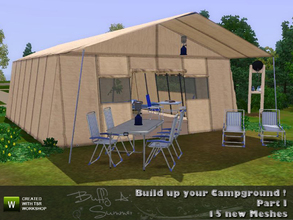 Sims 3 — Build up your Campground ! (Part I) by BuffSumm — A set of 15 new objects to build up tents. Some of the objects
