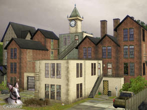 Sims 3 — Abandoned Factory by Cyclonesue — Nobody knows what the factory was, other than a sweatshop for poorly paid