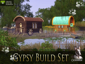 Sims 3 — Build your own playable Gypsy Wagons by Cyclonesue — Build your own ornate Gypsy caravans with this build set