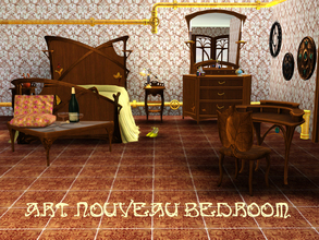Sims 3 — Art Nouveau Bedroom by ShinoKCR — Bedroom matching Art Nouveau Serie includes a Doublebed, Sidetable,