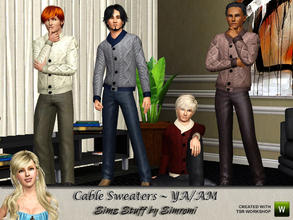 Sims 3 — Cable Knit Sweater for YA/AM by simromi — Your male adult sim will stay warm and cozy in this fashionable cable