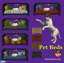 Sims 2 — evi pet beds! by evi — Let your precious pets sleep in style! Four different wood color and five beddings
