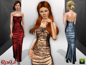 Sims 3 — Winter Night Dress by RedCat — 1 Recolorable Pallet. 3 Styles. Game Mesh. ~RedCat