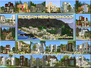 Sims 2 — Modern Neighborhood SUPERSET! by Alyosha — Set includes: All BLOCK lots, All MODERN BRICK lots, All COLORE lots,