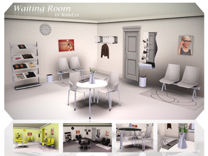 Sims 3 — Waiting Room by katelys — 13 new objects, inspired by scandinavian design. 3 color schemes included (white,
