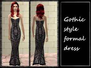 Sims 2 — Gothic dress by karakratm — Black and grey gothic style dress. Fastening detail on the back. Shoes are a greyish