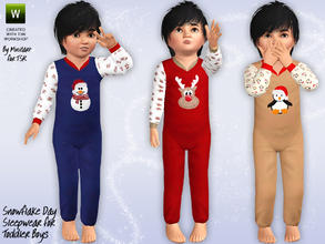 Sims 3 — Snowflake Day Sleepwear by minicart — Holiday themed sleepwear for your toddler boys with Rudolph, a snowman and