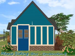 Sims 2 — Maxis Siding-Blue-Trim Combination B by allison731 — Recolored Maxis siding wall + added trim on 4 sides. Cost