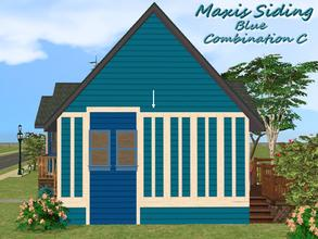 Sims 2 — Maxis Siding-Blue-Trim Combination C by allison731 — Recolored Maxis siding wall + added trim on 5 wall areas.