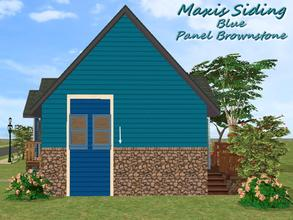 Sims 2 — Maxis Siding-Blue-Panel Brownstone by allison731 — Recolored Maxis siding wall + combined stone panel from Cabin