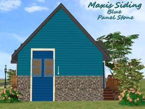 Sims 2 — Maxis Siding-Blue-Panel Stone by allison731 — Recolored Maxis siding wall + combined stone panel from Cabin Wall